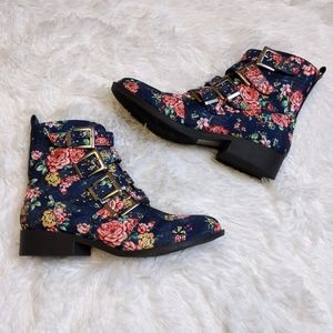 Qupid Blue Floral Booties
